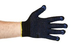 Dark blue protective cloth gloves with hand, handyman equipment. Isolated on white background stock photos