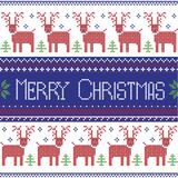 Dark blue, red and green Scandinavian inspired Merry Christmas nordic pattern with  2 rows of  reindeer patten, snowflakes, trees, Royalty Free Stock Photos