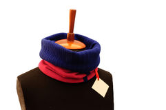 Dark blue and red ribbed scarf. On texture background, natural textile, pure handmade Stock Photos