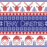 Dark blue and red Scandinavian Merry Christmas pattern with Santa Claus, xmas presents, reindeer, decorative ornaments,  snowflake Stock Photo