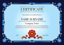 Dark Blue Ribbon style border for certificate with Red Stamp Royalty Free Stock Photos