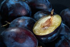 Dark blue ripe fleshy plums Royalty Free Stock Image