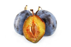Dark Blue ripe plums Royalty Free Stock Images