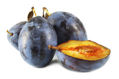 Dark Blue ripe plums Royalty Free Stock Photos