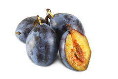 Dark Blue ripe plums Stock Photo