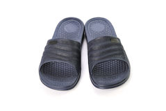 Dark blue sandals on white background Stock Images