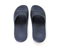 Dark blue sandals on white background Stock Photos