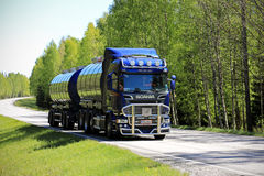 Dark Blue Scania R580 Tank Truck at Summer Royalty Free Stock Photo