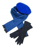 Dark blue scarf, beret and black woolen gloves Royalty Free Stock Photos
