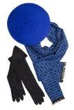 Dark blue scarf, beret and black woolen gloves Stock Photo