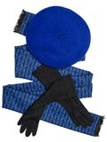 Dark blue scarf, beret and black woolen gloves Royalty Free Stock Photos