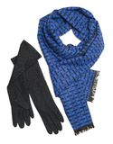 Dark blue scarf and black woolen gloves Royalty Free Stock Photography