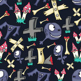 Dark blue seamless background with little monsters. Different monsters royalty free illustration