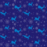Dark blue vector seamless christmas pattern with blue goats Royalty Free Stock Photos