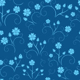 Dark blue seamless floral pattern - vector Stock Images