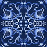 Dark blue seamless pattern with birds in the ethnic style of painting on porcelain. Vector illustration royalty free illustration
