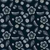 Dark blue seamless retro background with flowers and leaves. Stock Photo