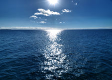 Dark blue seascape at day Stock Images