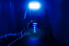 Dark blue self portrait Royalty Free Stock Photography