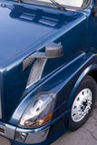 Dark blue semi truck side view fragment Stock Photo
