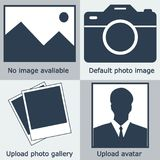 Dark blue Set of no image available, no photo: blank picture, camera, photography icon and silhouet. Te of a man. Missing or uploading icon. instant vector royalty free illustration