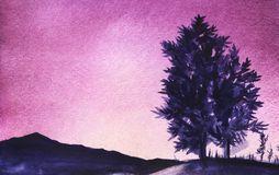 The dark blue silhouette of the mountains and two lush deciduous trees on a hill on a bright purple sky background. Abstract watercolor landscape. Hand-drawn royalty free illustration