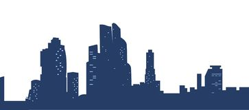 Dark blue silhouettes city with light Windows. Town isolated on white background. The center of the city. Vector illustration vector illustration