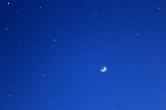 Dark Blue Sky With Stars And Moon. Stock Photos