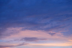 Dark blue sky in sunset time. In China Shanghai dark blue sky and white cloud Stock Photography