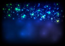 Dark blue sparkling vector bokeh background Royalty Free Stock Photo