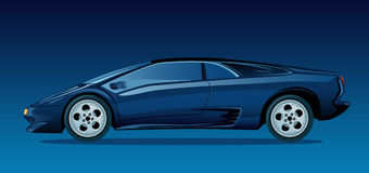 Dark blue sports car. On a dark background stock illustration
