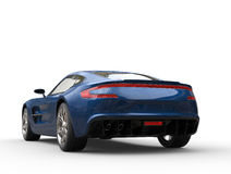 Dark blue sports car - back view Stock Photo