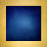 Dark blue square background with gold textured border Stock Photo