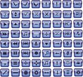 Dark blue square glass buttons Royalty Free Stock Photo