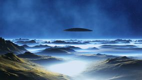 Spaceship on Alien Planet. On the dark blue starry sky white nebula. Over the rocky desert, covered with a thick white mist, a spaceship ufo flies stock video footage