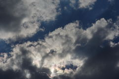 Dark blue stormy cloudy sky. Dark blue stormy sky with clouds royalty free stock images