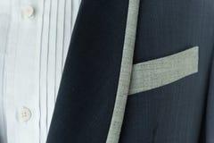 Dark blue suit with pocket. Formal wedding groom suit Stock Image
