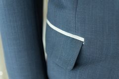 Dark blue suit with pocket. Formal wedding groom suit Royalty Free Stock Photography