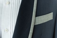 Dark blue suit with pocket,formal wedding groom suit. royalty free stock photo