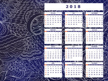 Dark blue tangle zen pattern calendar year 2018. Business english calendar for wall on year 2018 on the gradient background with hand drawn tangle zen pattern Royalty Free Stock Photography