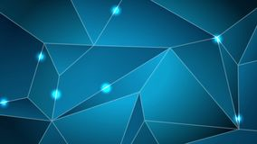 Dark blue tech abstract polygonal video animation stock illustration