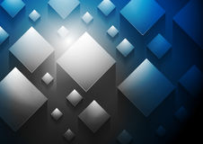 Dark blue tech 3d cubes vector background Royalty Free Stock Images