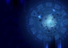 Dark blue technology vector background Stock Photos