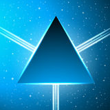 Dark blue triangle on an abstract cosmic background Stock Photography