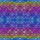 Dark blue tribal ornament on rainbow background vector seamless pattern Stock Photography