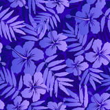Dark blue tropical flowers seamless pattern Royalty Free Stock Images