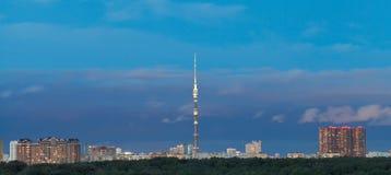 Dark blue twilight sky over city Stock Photos