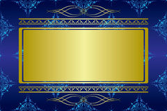 Dark blue vector card with golden decorations Stock Photos