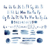 Dark Blue Vector Watercolor Alphabet, Hand Drawn Royalty Free Stock Images