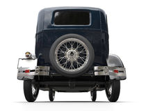 Dark blue vintage car - rear wheel shot. Isolated on white background stock photo